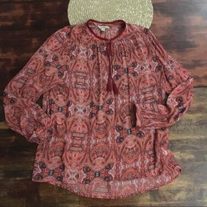 Lucky Brand semi sheer fringed paisley blouse